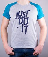 """Мужская футболка-реглан """"Just Do It"""" отличного качества"""