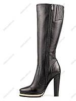 Женские демисезонные сапоги из натуральной кожи, устойчивый высокий каблук (39 р-р)