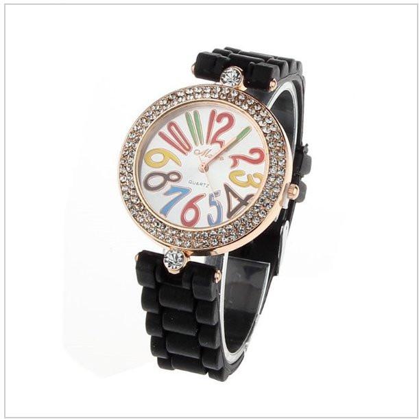 e6b3b2786dfd0 Модные стильные женские часы co стразами, силиконовый ремешок,черные