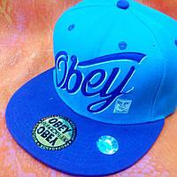 Кепка OBEY голубая с синим козырьком., фото 1