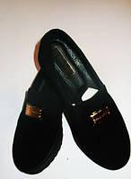 Туфли черные из натуральной замши на  толстой подошве