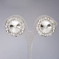 Клипсы Элит ручной работы с белыми кристаллом Риволи в оправе из серебристых бусин d-2,8см