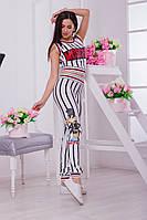 Стильный костюм в вертикальную полоску: топ+лосины