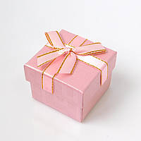 Коробочка для кольца-серег 54046 розовый, размер 5*4 см