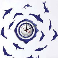 """Декоративная виниловая наклейка  FERON NL20 Часы-наклейка  """"рыбы"""" 1*AА"""