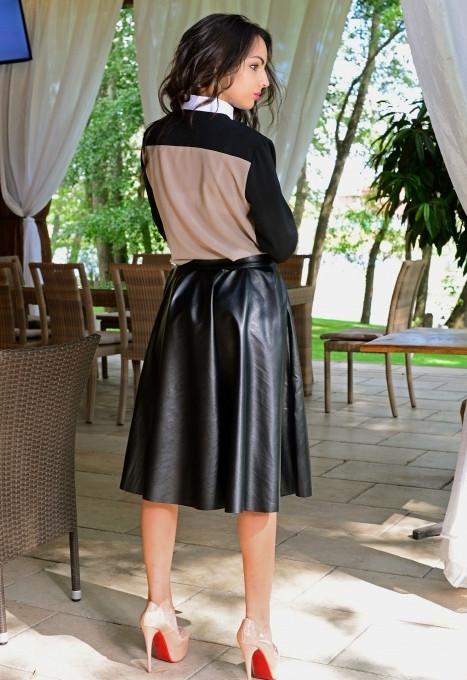e037cf9ad44 Кожаная юбка миди черного цвета v-t6111192 - Интернет-магазин одежды