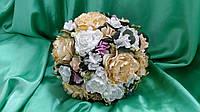 Свадебный букет-дублер бело-персиковый из пион
