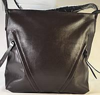 Женская  сумка-мешок, хобо из кожзама коричневого цвета 89619