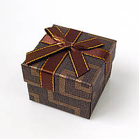 Коробочка для кольца-серег 54048 тёмно-коричневый, размер 5*4 см
