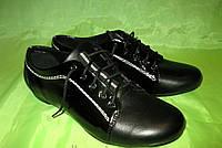 Женские туфли на шнурках (кожа+лак), в черном цвете
