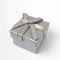 Коробочка для кольца-серег 54049 серебристый, размер 5*4 см