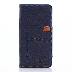 Чехол книжка для Sony Xperia Z5 Premium E6853 / Dual E6883 боковой с отсеком для визиток, Джинс, темно-синий