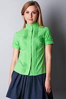 Зеленая жубашка женская с коротким рукавом Р104