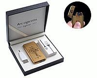"""Электроимпульсная USB зажигалка """"Chrome Hearts"""" №4779-2, две перекрестные дуги, стильный и модный девайс"""
