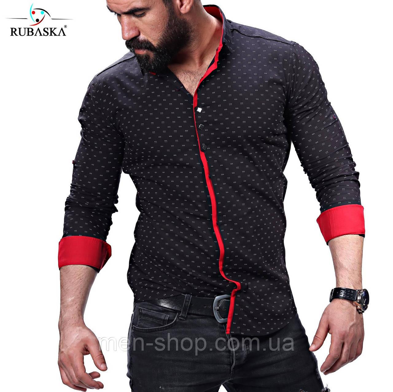 Стильная мужская рубашка в черном цвете
