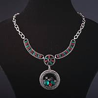 """Колье """"Этника"""" с кристаллми и камнямина цепочке L-45-50см"""