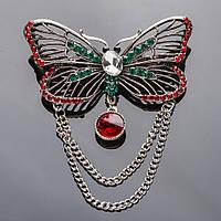 Брошь с цепочкой Мотылек красные и зеленые стразы 6,5х3,5см