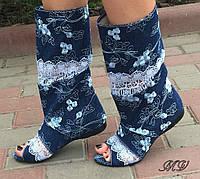 Сапоги джинсовые открытый носок