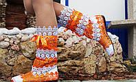 Сапоги макраме оранжево-белые