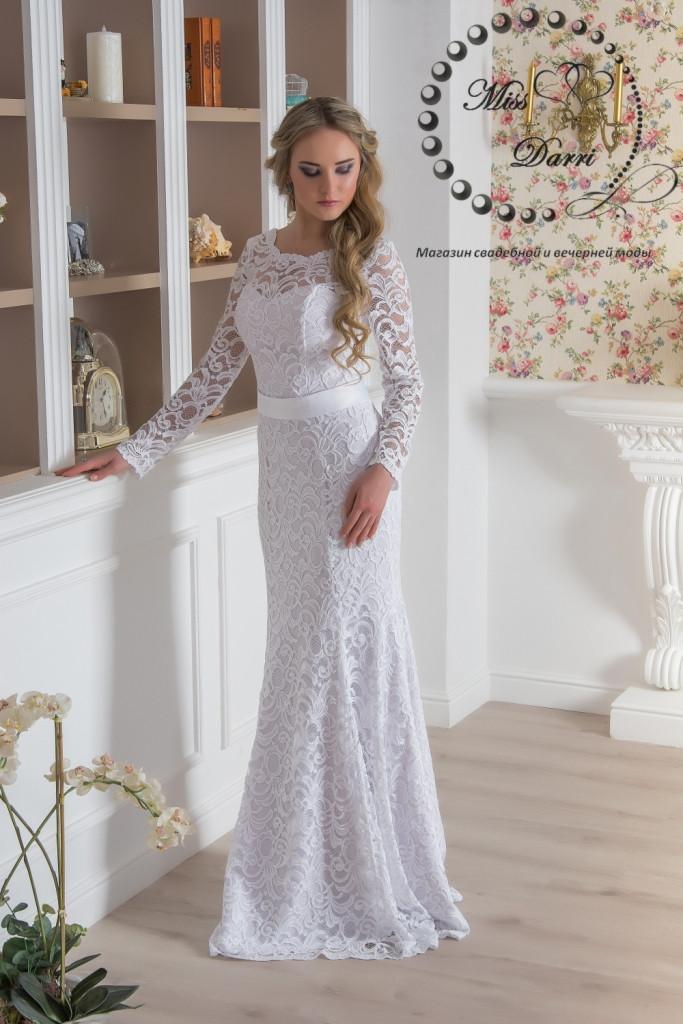 58a994dda35 Свадебное платье рыбка кружевное с рукавами - Магазин свадебной и вечерней  моды Miss Darri в Харькове