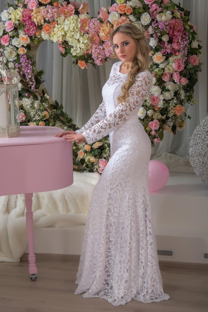 7ca981cb32c Свадебное платье рыбка кружевное с рукавами  продажа