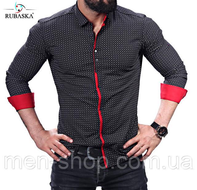 389956c2a4e Черная рубашка с красным акцентом  продажа