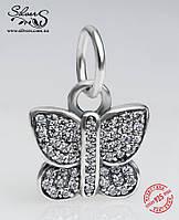 """Серебряная подвеска-шарм Пандора (Pandora) """"Бабочка"""" для браслета"""