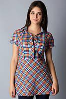 Женская рубашка-туника в клетку с коротким рукавом Р57