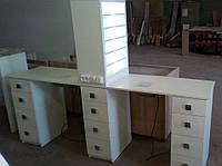 Профессиональный маникюрный стол на два рабочих места  с бактерицидной лампой, УФ-лампой и подсветкой.