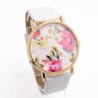 Нежные модные женские часы Geneva Flowers, белые