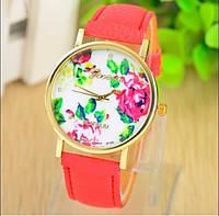 Нежные модные женские часы Geneva Flowers, красные