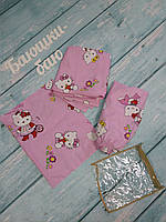 """Детское постельное белье 4 в 1 """"Hello Kitty"""", (резинка, молния, 90х120)"""