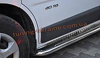 Боковые пороги площадка труба с листом из нержавейки на Opel Vivaro 2001-2014 short