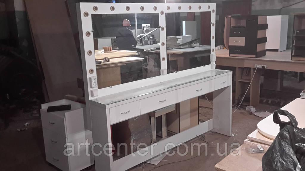Стол гримерный для двух мастеров с выдвижными ящиками и зеркалом с подсветкой для салона красоты