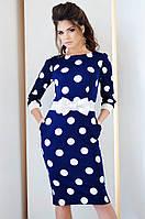 Женское приталенное платье в горох в разных цветах