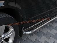 Боковые пороги площадка труба с листом из нержавейки на Opel Antara 2006-2010