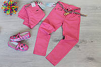Розовые джинсовые брюки для девочки с ремешком Турция размер 6-8 лет