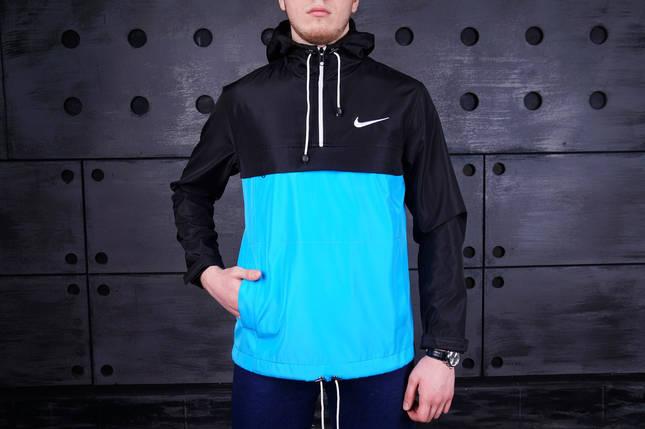 Мужская куртка Nike Black/Blue топ реплика, фото 2