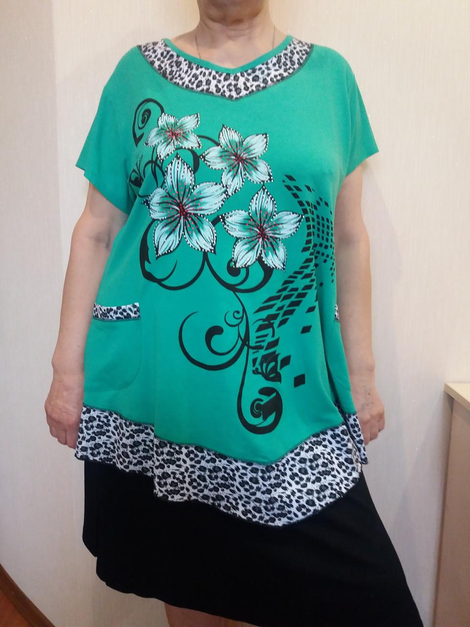 Стильная женская футболка с цветами - EVA LOOK в Хмельницком