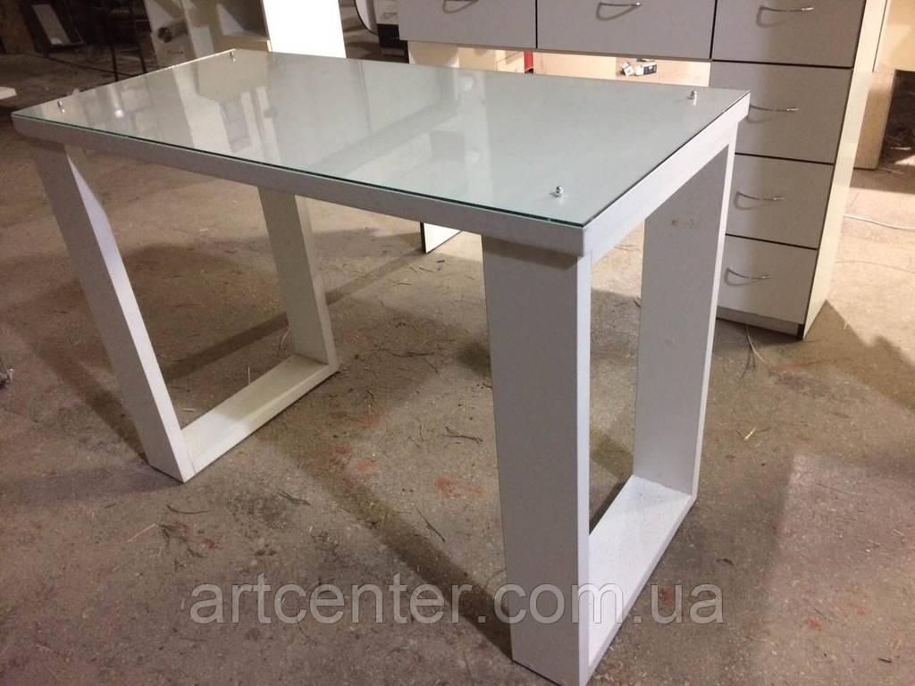 Маникюрный стол со стеклянной столешницей, офисный стол белый на двух ножках