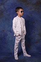 Брючный костюм на мальчика, лён, 116 - 146 см. Детский, подростковый летний костюм.