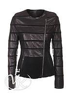 Черная кожаная куртка с вырезом женская