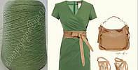 Меринос с кашемиром спокойного зеленого цвета Италия CARIAGGI fine yarns