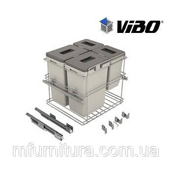 Сортер для мусора с доводчиком (модуль 600 мм)(4 ведра)(2*20л+10л+9л) - VIBO (Италия)