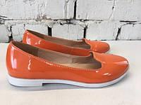 Женские туфли-балетки,натуральная лаковая кожа