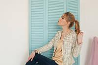 Женский жакет в стиле Шанель (беж с зеленцой)