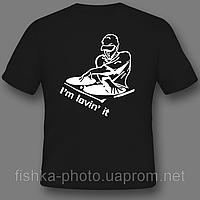 Печать логотипов на черных футболках в Днепропетровске