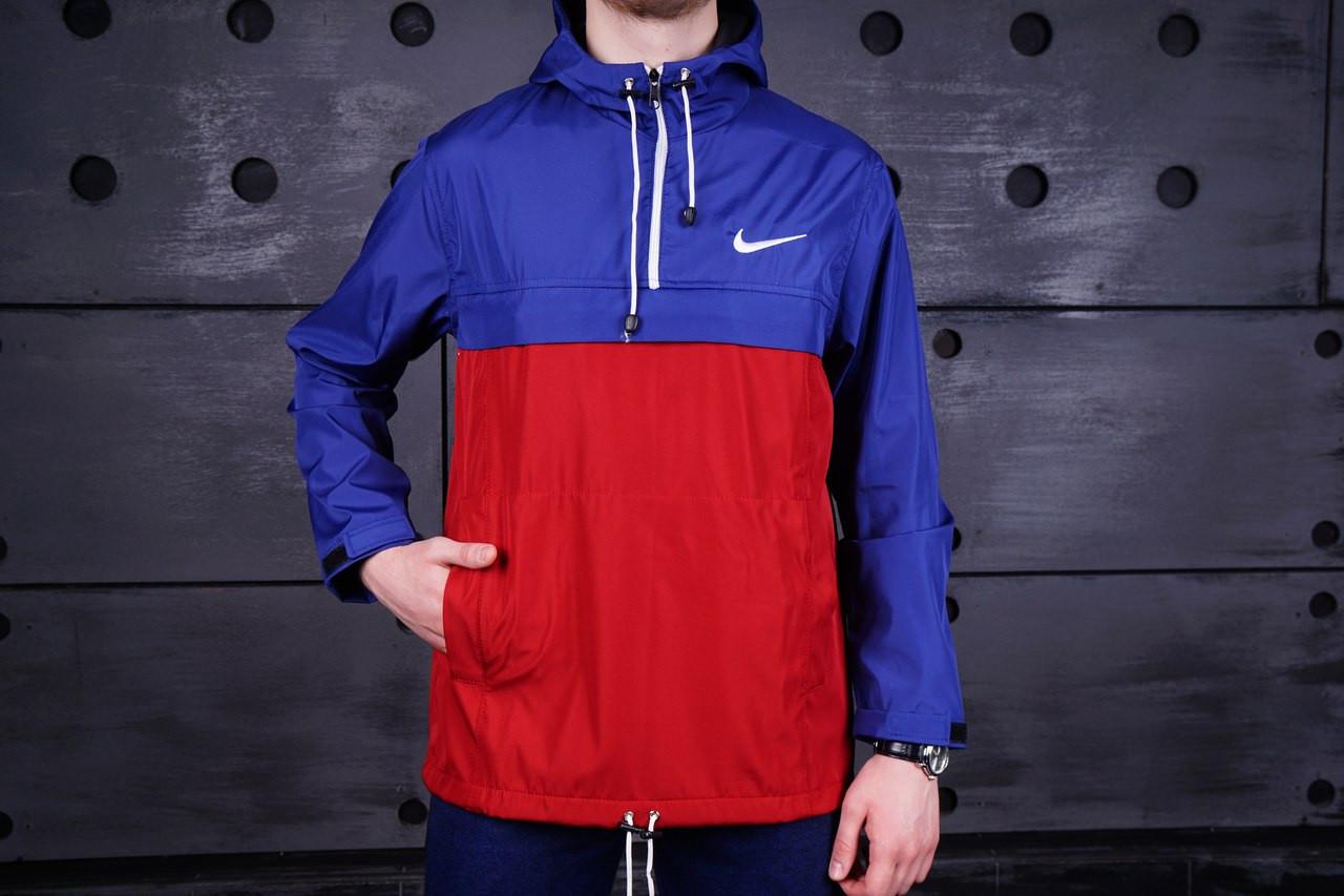 Куртка анорак Nike красно-синяя топ реплика