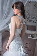 Свадебное платье рыбка бежевое (айвори) с ажурной спинкой
