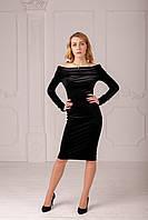 Женское велюровое платье с открытыми плечами чёрного цвета